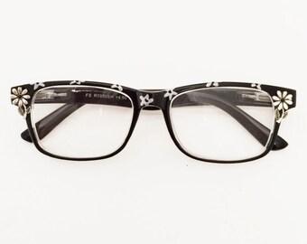 Women Reading Glasses Wayfarer Glasses,  Black with Silver Daisy, +4.50 Readers