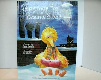 Christmas Eve on Sesame Street, Big Bird, Jim Henson, Vintage Children's Book, 1980s, 1981
