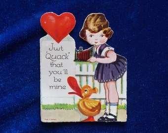 1920's Duck & Girl German Valentine Very Fine Quality Beautiful Colors!
