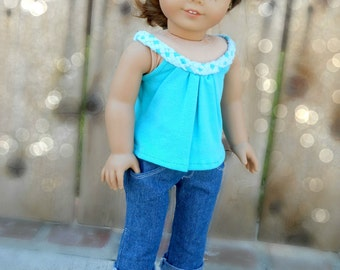 Blue/Turquoise Breezy Summer Tank Top For American Girl Dolls