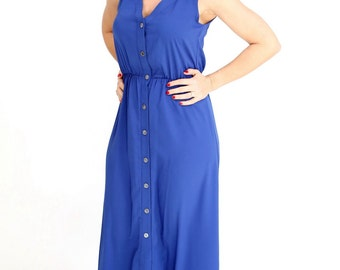 Blue maxi long dress casual summer Dress button Day Dress sleeveless