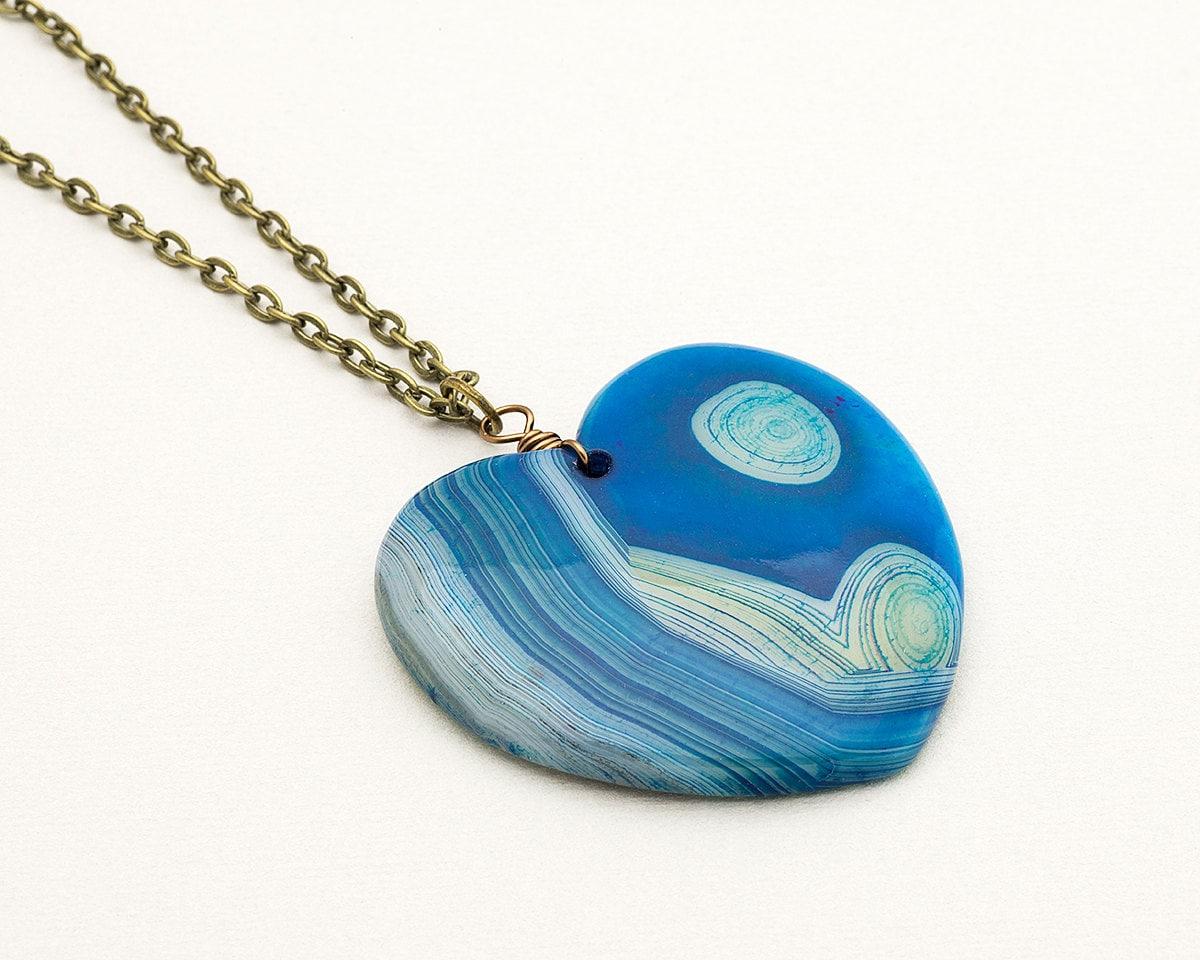 blue agate slice necklace boho style layering pendant