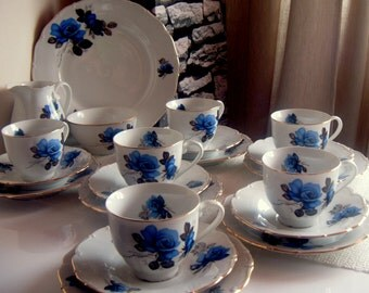 Blue Rose Porcelain Cup, Saucer & Side Plate, Made in  Czechoslovakia