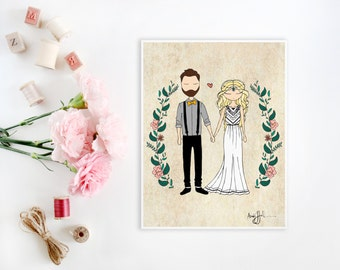 Custom Couple Portrait Illustration | Engagement, Announcement, Wedding Invitation, Save The Date, Gift Idea or Thank You's