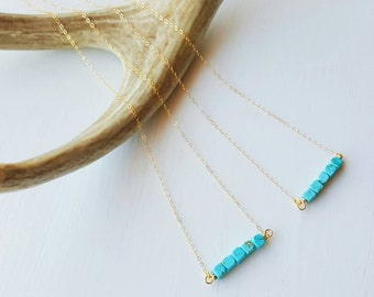 Turquiose Bar Necklace, Dainty Gold Necklace, Minimalist Necklace, Layering Necklace, Turquoise Necklace, Bar Necklace, Boho, Minimalist
