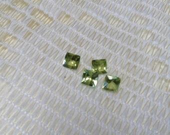 Natural Genuine Hebei Peridot Apple Green Cushion Cut Set of 4   1.25ctw 4x4mm