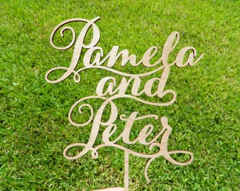 Custom Wedding Names Cake Topper, bride and groom names, laser cut by AcrylicArt Design
