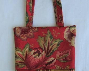 Small Tote/ Hostess Gift Bag- Red Floral