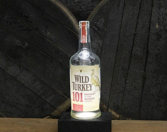 Wild Turkey 101 Bourbon Bottle LED Light / Reclaimed Wood Base & LED Desk Lamp / Handmade Tabletop Lamp / Upcycled Bourbon Bottle Lighting
