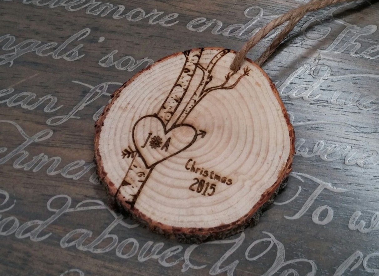 Couples christmas ornaments - Love Birch Tree Ornament Personalized Love Ornaments Christmas Ornament Tree Trunk Ornament