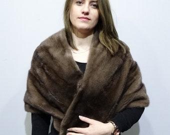 Luxury large mink fur brown stole F429