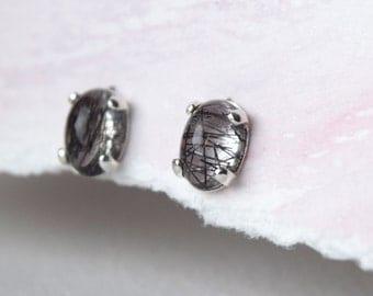 Tourmalated quartz earrings - genuine gemstone studs - sterling silver earrings - Good luck - Inner strength