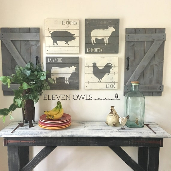 FARMHOUSE ANIMAL DECOR 4 pcs set modern by ElevenOwlsStudio