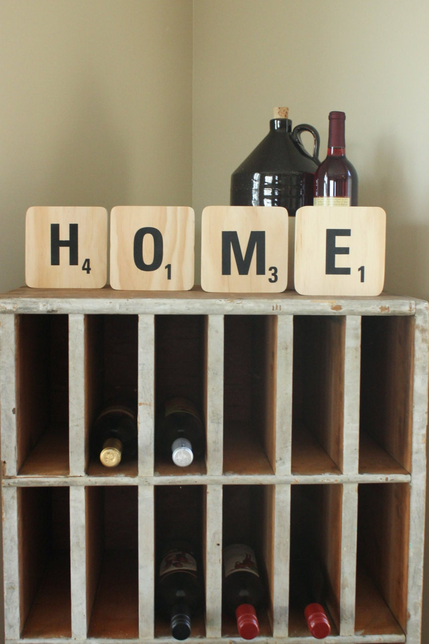 Handmade Large Scrabble Tiles Wall Decor By Engagestudio