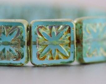 Czech Glass Etched Square Compass Beads Transparent Aqua Strand 15mm