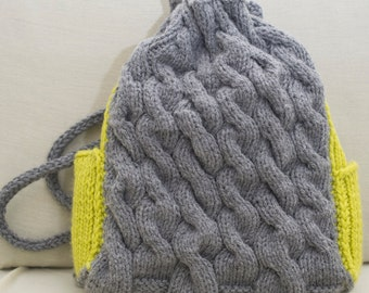 Knitted Cable Backpack (grey and green)
