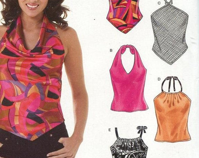 FREE US SHIP New Look 6464 Easy Halter Tops 5 Styles Size 8/18 Out of Print Sewing Pattern Bust  30 31 32 34 36 38 40 New Condition
