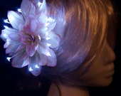 Sale - White Dahlia LED Light Up Flower Hair Clip with Pink Accents