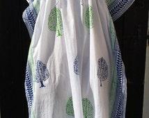 Beach Cover Up Long Cotton Kaftan | Indian Handmade Block printed Resort Caftan White Green Blue | Cruise Lounge wear | Summer Dress