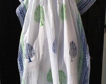Beach Cover Up Long Cotton Kaftan   Indian Handmade Block printed Resort Caftan White Green Blue   Cruise Lounge wear   Summer Dress