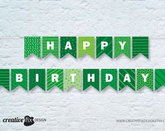 Green Happy Birthday Printable Banner. Green tones Bunting Flags. Instant Download. Wall decoration. DIY ready to print. Rustic pattern.