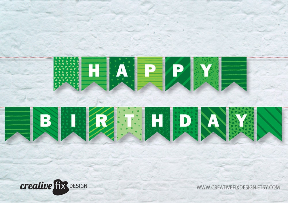 green happy birthday printable banner  green bunting flags