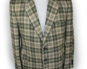 Vintage mens Blazer 60's-70's  mens Saks Fifth Avenue Union made Sport Coat Wool plaid blazer Suit jacket Check Funky Retro Mod 42