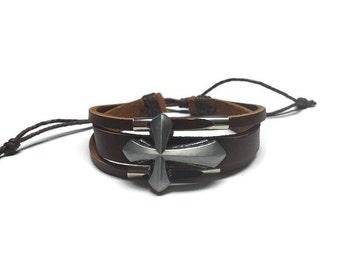 Brown Leather Religious Cross Charm Adjustable Wrap String Bracelet Mens Womens Leather Bracelet Cross Pendant Charm Bracelet Gift for Him