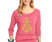 YOU CHOOSE COLOR Monogram anchor shirt, monogrammed shirt, monogrammed tshirt, Glitter Printing, Glitter Monogram, Anchor Monogram Shirt