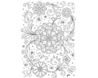 Floral Coloring Page Adult Book Printable