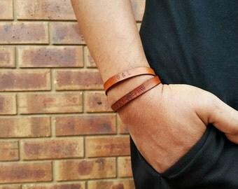 Custom Leather Bracelet - Personalized Leather Cuff - Double Wrap Bracelet - Best Friend Wristband - Gift for Boyfriend - Men Bracelet
