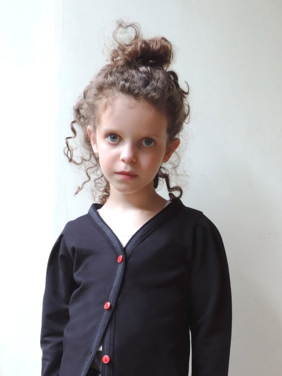 Girls Black Cardigan, Baby Girls Cardigan, Girl Black Jacket, Girls Black Outfit, Hipster Girls Fashion - By PetitWild