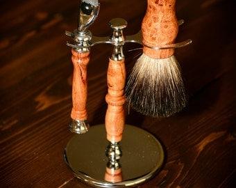 Hand-turned Shaving Set, Razor and Brush
