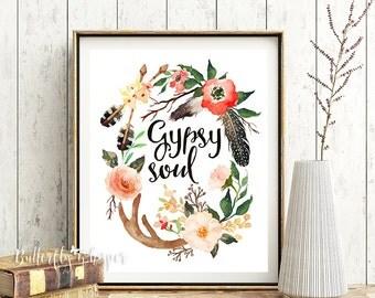 Gypsy soul, Printable hippie boho decor, Boho printable, Feathers, Arrows, Horns, Tribal Flowers print, Printable boho decor wall art print