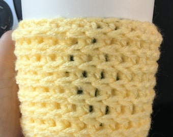 Yellow Cable Knit Travel Cup Mug Cozies