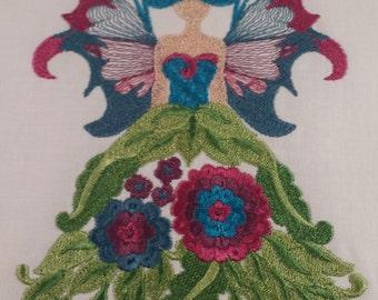 Flower Fairy Machine Embroidered quilt block