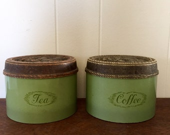 Vintage Kitchen Canisters; Burlington Crafts Avocado Green Coffee & Tea Canister Tins; Coffee Canister; Tea Canister; Kitchen Canister Set