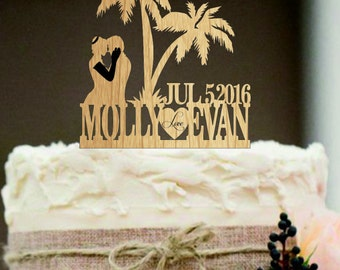 rustic wedding cake topper, silhouette personalized wedding cake topper, mr and mrs cake topper, Palm cake topper, funny wedding cake topper