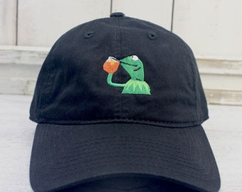 None of My Business Kermit Meme Dad Hat Curved Bill Baseball Cap 100% Cotton