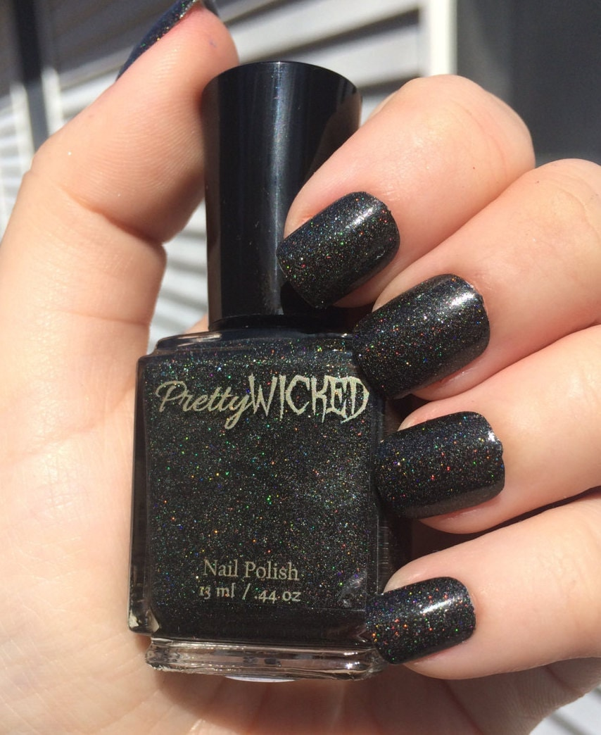 Black Holographic Nail Polish, Dakota Polish, Black Nail