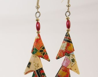"Origami triangle earrings ""Red and beige"""