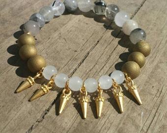Gold Spike and White Gemstone Bead Stretch Bracelet