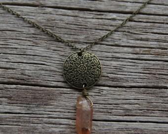 Bronze Orange Crystal Necklace / Mandala Necklace / Bohemian Necklace / Quartz Necklace / Titanium Crystal Necklace / Aura Quartz Necklace