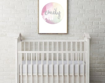 Personalised Pastel & Grey Children's Name Art // Watercolour Baby Nursery Print //  Geometric Modern Contemporary Print with Brush Text