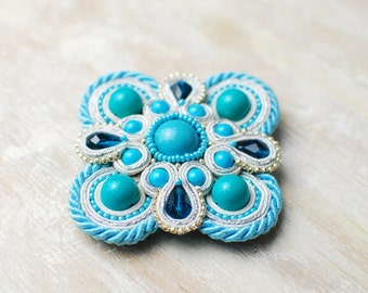 Soutache brooch, Blue, white and silver brooch, Embroidered brooch, Beaded brooch, Soutache jewelry, Gift for her, FREE SHIPPING