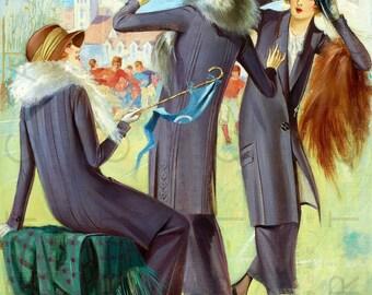 FLAPPERS LOVE FOOTBALL. Art Deco Fashion Illustration. Flapper Digital Download. Vintage Deco Flapper Print.