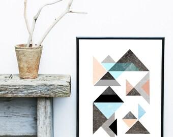 Modern Scandinavian Art Print, Triangle Print, Geometric Art, Abstract Art Print, Home Decor, Wall Decor, Giclee print, Modern Wall Art,