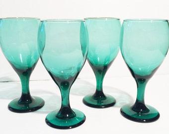 Vintage Teal Wine Glasses,  Green Glass, Goblets, Set of 4