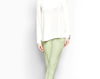 Ivory Silk Crepe Blouse // A-line Tops for Women // Salome Blouse