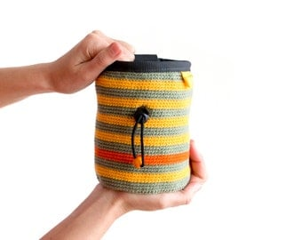 Crochet Chalk Bag. Knitted Chalkbag. Rock Climbing Pouch. Bee Chalk Bag M size